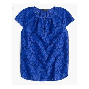 J. Crew Cap Sleeve Floral Lace Top in size 6